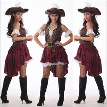 2016 New Sexy Women Pirate Costume Halloween Fancy Party Dress Carnival Perfor mance high quality Adult Pirate Cosplay Costumes