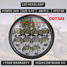 "5.75"" Round 4000/4040/5506 36W Epistar LED Chrome Sealed Beam Hi/Low Headlights With H4 plug High Low beam x1pc"