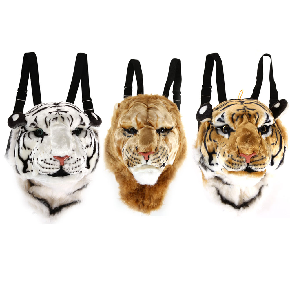 2017 New Arrival Tiger Head Backpack Cartoon Animal Lion Bags White Daypacks for Travelling <br>