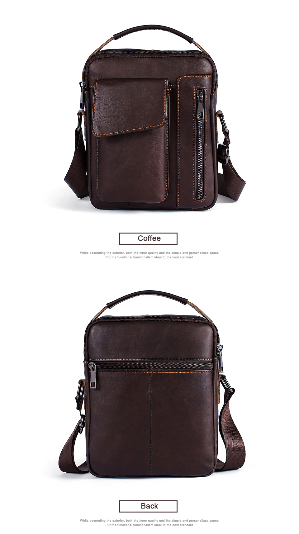 Men's Bags Genuine Leather Bag Male Messenger Crossbody Bags Casual Cowhide Flap Leather Men Shoulder Bag Man (6)