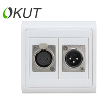 N86-903+627+633 86 type one male and one female XLR audio amplifier KTV microphone jack Wall Plate