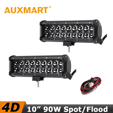 "Auxmart 10"" 90W CREE Chips 4D LED Work Light Bar Spot Beam DC 12V 24V Offroad 4x4 4WD Truck SUV ATV Led Driving Lamp"