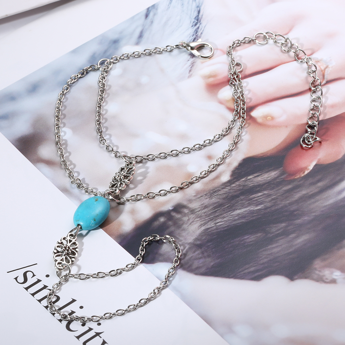Fashion Chain Bracelet Drop Punk Silver Plated Women Metal Hand Harness Chain Turquoise Beads Slave Finger Ring Boho Jewelry