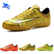 New Striped Professional Mens Turf Soccer Cleats Male Anti Shock TF Football Shoes Cheap Women Futsal Boots Crampons De Foot