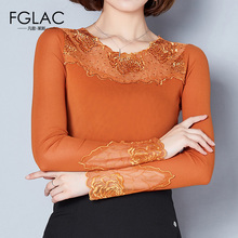 Buy FGLAC Women clothing New Arrivals 2017 Autumn long sleeved Mesh tops Elegant Slim Diamonds Lace shirt plus size women blouse for $12.88 in AliExpress store