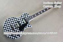 Limited Edition Custom Electric Guitar Black and White Square Gold Hardware Chinese Musical Instrument(China)