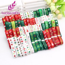 "Lucia crafts 12yards 3/8"" 10mm White,Green,Red Random 12styles Printing Grosgrain Satin Ribbons Christmas Decoration 040048007(China)"