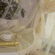 Window screening tulips design embroidered organza tulle fabrics for curtain window