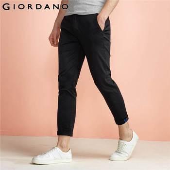 Giordano homens calças sólidos tornozelo moda calças chinos para homens macho magro roll-up calças pantalones hombre pantalone uomo