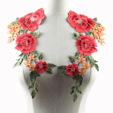 2 Pcs/Set Embroidery Collar Venise Lace Flowers Neckline Applique Trim, lace fabric sewing supplies soluble cord lace nl052(China)