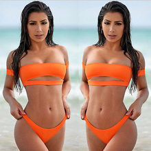 Brazilian Women Off Shoulder Slash Neck Bikini Swimwear Set Push-up Monokini Low Waist Orange Swimsuit Bathing Suit Beachwear