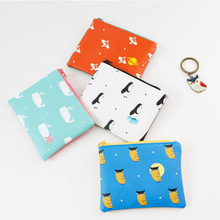 4 Pieces Original Cartoon Pattern PU Earphone Storage Case Portable Organizer Coin Purses Unique Change Wallets Small Coin Bags