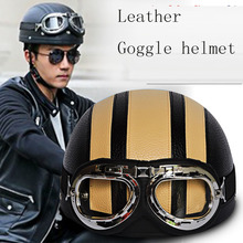 Male motorcycle helmet female electric bicycle summe safety helmet leather anti uv with sunscreen goggle helmet