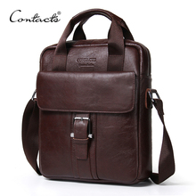 CONTACT'S Genuine Leather Bag top-handle Men Bags male Shoulder Crossbody Bags Messenger Flap Casual Handbags men Leather(China)