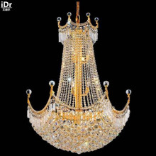 gold Chandeliers Modern hotel lobby chandelier lamp crystal lamp metal polishing gold villa D76cm x H102cm(China)