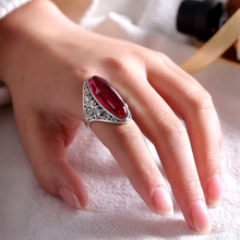 EDI Brand Gemstone Rings women Vintage Retro Oval Channel setting 925 Silver Wedding Ruby Rings decorations for women Jewelry(China)