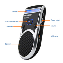 2017 solar powered speakerphone with LCD screen Wireless Bluetooth Car Kit handsfree speaker car styling(China)