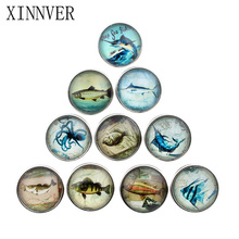 10pcs/lot 18mm glass print fish snap button jewelry luxurious copper bottom fit xinnver snap buttons necklace ZB319