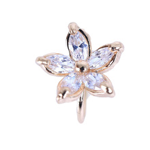 Freeshipping 1PC Women's Fashion Cz Crystal Flower U Shape Ear Cuff Clip-on No Piercing Earring high quality