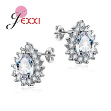 JEXXI 2017 Fashion Magazine Recommend 925 Sterling Silver Jewelry Pave Drop Cubic Zirconia Stud Earrings for Women Girls