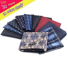 (30 Pcs/Lot) Wholesale Men's Paisley Floral Polyester Silk Handkerchief Groom Pocket Square Hanky Wedding Christmas Chest Towel