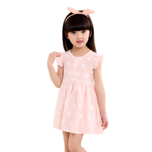 Summer Cute Girls Dress Fly Sleeve Children Dresses Cotton Blue Pink Princess Baby Clothing New Year's Costume(China)