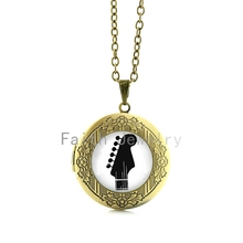 Black white Gibson Guitar pendant necklace vintage silhouette art musical instrument pattern locket jewelry rock fans gift HH233