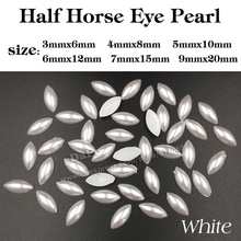 2017 Ivory/White Color Half Pearls Flatback Horse Eye Pearls Strass Stones For Clothes Dress Crafts Scrapbook Decorations Beads