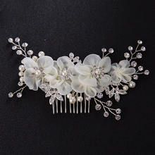 Bride Accessories White Flower Pearl Headdress Headpieces Bridal Crystal Hair Jewelry Big Prom Wedding Hair Combs