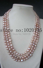 "wow! 3rows freshwater pearl purple baroque 8-9mm   necklace 20-22"" nature long FPPJ"