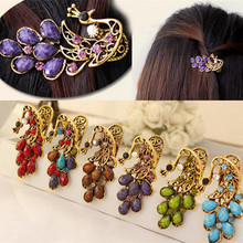 Colorful Resin Peacock hair accessories Retro Peacock hairpins, Peacock Hair Clips Retro Hair Jewelry for Women Hair Jewelry(China)