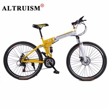 Altruism X6 24 Speed Mountain Bike Steel Folding Bicycles 26 Inch Aluminum Alloy Wheels Bikes frame Yellow Road Bicycle(China)
