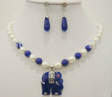 Women's gift Jewelry  word Natural Fine white Akoya Cultured pearl & blue gem elephant pendant necklace earrings USA