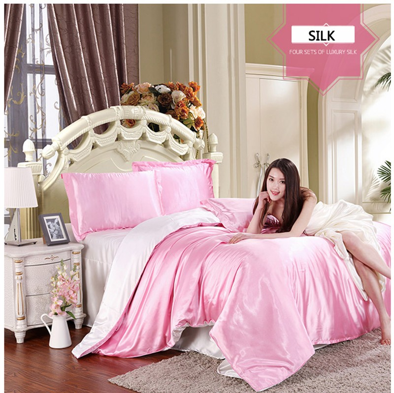 HOT! 100% pure satin silk bedding set,Home Textile King size bed set,bedclothes,duvet cover flat sheet pillowcases Wholesale 21