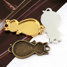 2017 New Vintage Cat  Antique Gold&Bronze&Silver Metal Hollow Frame Connector Charms Pendant DIY Jewelry Findings Accessories