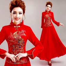 Red Long Sleeve Winter Bride Toast Cheongsam Dress Chinese Traditional Wedding Qipao Online Clothing Store  Qi Pao Dresses
