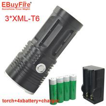 King 3T6 led Flashlight light 3*led torch 3 Mode 6000 Lumen Flashlight Black Flashlight with 4x18650 battery + charger