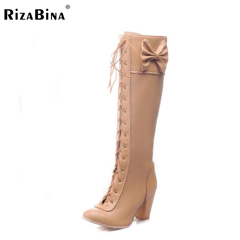 RizaBina women high heel over knee boots  riding snow warm winter botas masculina cross strap brand footwear P20451 size34-43<br>
