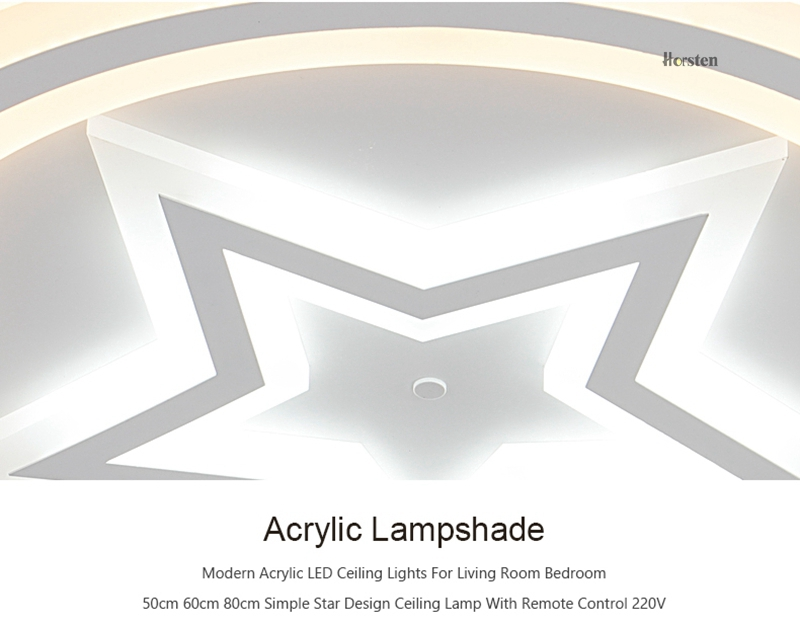 Modern Acrylic LED Ceiling Lights For Living Room Bedroom 50cm 60cm 80cm Simple Star Design Ceiling Lamp With Remote Control 220V (14)