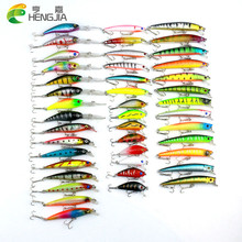 43pcs HENGJIA Mixed Fishing Lure Set isca artificial fishing kit Minnow Fishing Wobblers 43 colors Crankbait Hard Fishing Tackle(China)