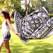 New bohemian beach towel outdoor panic towel mat white&black Elephant&flower pattern printing quality square tapestry free ship