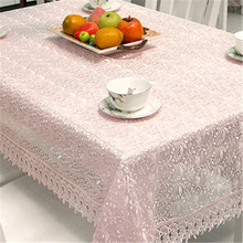 Home Textile White Home Hotel Dining/wedding Pink Embroidered Table Cloth Jacquard Floral Rectangular Tablecloth Free Shipping