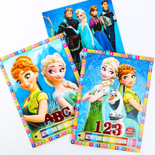 2Pcs Spiderman Elsa Coloring Paint With Stickers Learning Notebook Anime Figures Children Education Drawing Toys