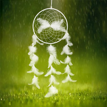 Angel Wings White Handmade Dream Catcher Net with Feathers Bead Car Home Wall Hanging Decoration Ornament Craft Gifts(China)