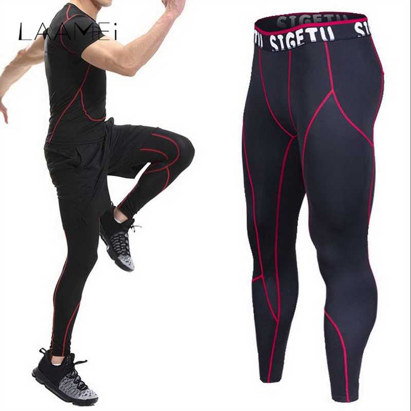 fc22275427ffa9 Detail Feedback Questions about Laamei High Elastic Fitness Leggings Men  Compression Bodybuilding Tights Male Quick Dry Skinny Pant Breathable Plus  Size ...