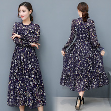 Making a new spring female long sleeved Chiffon Pleated Dress autumn long floral beach high waisted  dress