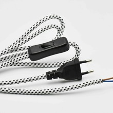 2*0.75mm2 1.8M Europe Plug Lamp Switch Braided Wire VDE Certified 304 Switch Lamp Power Cord with Switch Round Fabric Cable 1PC(China)
