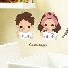 Mirror Wall Stickers Home Decor  DIY Waterproof Bathroom Cute Couple Decorative Stickers sticker mural Room Accessories