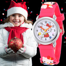 Children 3D Hello Kitty Pink Cartoon Watch Cute Silicone Jelly Quartz Wristwatches for Girl Kids Christmas gifts montre enfant
