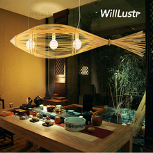 willlustr bamboo pendant lamp big fish wood suspension light handmade lighting natural hanging light hotel restaurant bar lounge(China)